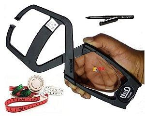 Adipômetro Clínico Prime Confort Preto + Trena com disco de IMC + caneta dermatográfica