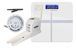 Estadiômetro Medidor de Altura Compacto + Balança + trena antropométrica