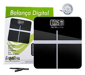 Balança Digital Pessoal Corporal Banheiro Medir Peso 180kg e Trena Fitmetria