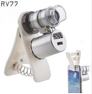 Microscópio lupa com leds uv zoom 60x para Smartphones