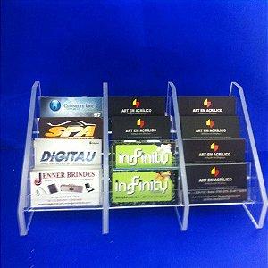 Porta Cartões em Acrílico de Mesa com 12 repartições