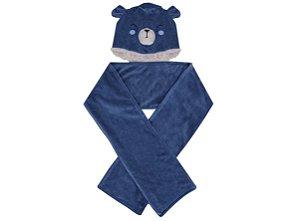 Kit Touca e Cachecol Ursinho Azul Marinho Hug Baby