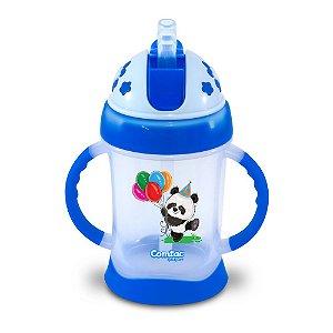 Copo de Treinamento com Canudo Panda 250ml Azul Comtac Kids (9m+)