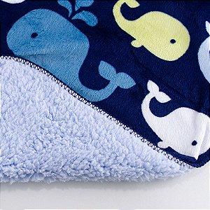 Cobertor de Microfibra e Sherpa Baby Azul Baleia Comtac kids