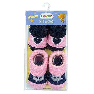 Kit 2 Meias Bebê Coração Rosa e Azul Pimpolho (0m)