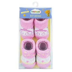 Kit 2 Meias Bebê Arco Íris Rosa Pimpolho (0m)