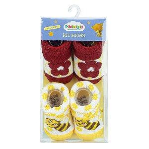 Kit 2 Meias Bebê Abelhinha Amarelo e Vermelho Pimpolho (0m)