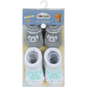 Kit 2 Meias Bebê Gato Cinza e Branco Pimpolho (0m)
