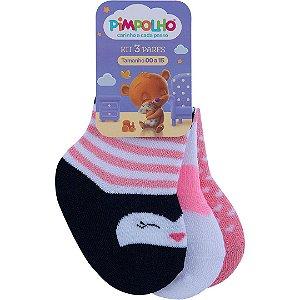 Kit 3 Meias para Bebê Coração e Pinguim Rosa e Preto Pimpolho (0-7m)