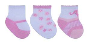Kit 3 Meias Bebê Flores Sapatilha Rosa e Branco Pimpolho (0-7m)