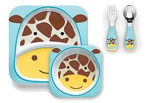 Kit Conjunto de Pratos e Talheres Skip Hop Girafa