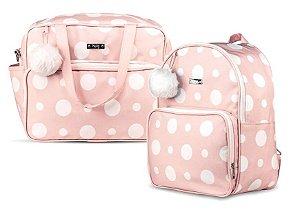 Kit Bolsas Maternidade Grande Mochila Hug Pompom Rosa