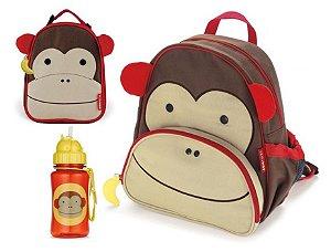 Kit Escolar Mochila Lancheira e Garrafinha com Canudo Skip Hop Macaco