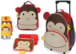 Kit Escolar Mochila de Rodinhas Lancheira Garrafa Inox e Kit Lanche Skip Hop Macaco