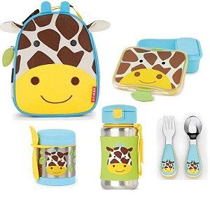 Kit Escolar Lancheira Kit Lanche Pote Térmico Garrafa Inox e Talheres Skip Hop Girafa