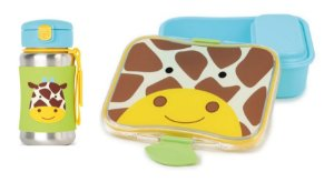 Kit Escolar Garrafa Inox e Kit Lanche Skip Hop Girafa