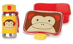 Kit Escolar Garrafa Inox e Kit Lanche Skip Hop Macaco