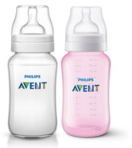 Kit 2 Mamadeiras Clássica Rosa E Transparente Philips Avent 330ml