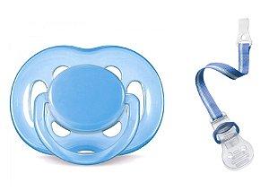 Kit Chupeta (0 a 6 meses) e Prendedor Azul Philips Avent