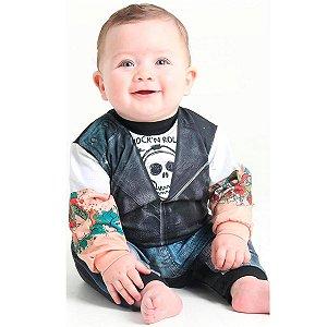 Fantasia Motoqueiro Radical Macacão Estampado Bebê Sulamericana