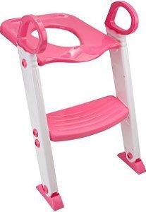 Redutor de Vaso Sanitário com Escada Dobrável Rosa Kababy