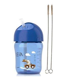 Copo com Canudo 260ml Azul Philips Avent Escova Limpeza Pra Canudo (12m+)