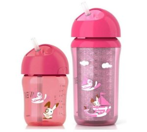 Kit 2 Copos com Canudo Rosa 260ml Philips Avent (12m+)