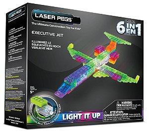 Blocos de Montar 6 em 1 com Luzes Jato Executivo ZippyDo Laser Pegs