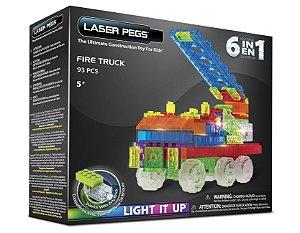 Blocos de Montar 6 em 1 com Luzes Carro de Bombeiro ZippyDo Laser Pegs