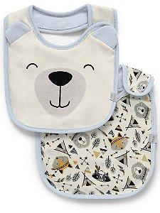 Babador Impermeável Ursinho Branco e Azul Bosque Hug Baby - 2 Unidades