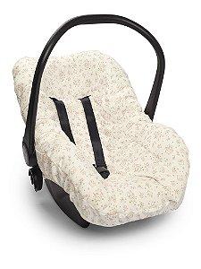 Capa Forro para Bebê Conforto Branca e Rosa Mundo da Fantasia Hug Baby