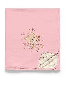 Manta Suedine Gato Rosa Mundo de Fantasia Hug Baby