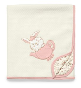 Manta Matelassê Branca e Rosa Hora do Chá Hug Baby