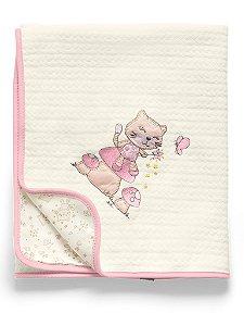 Manta Matelassê Branca e Rosa Mundo de Fantasia Hug Baby
