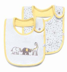Babador Impermeável Branco e Amarelo Girafante Hug Baby - 2 Unidades