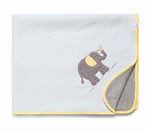 Manta Matelassê Branca e Cinza Girafante Hug Baby