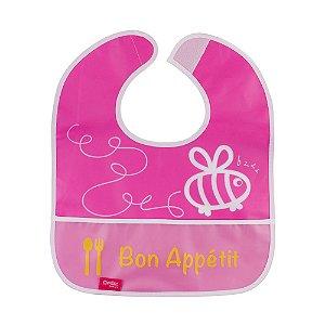 Babador Impermeável Plus com Bolso Abelhinha Rosa Comtac Kids (9m+)