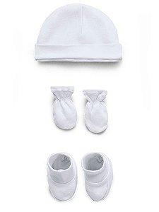 Kit Touca Luva e Sapatinho Liso Branco Hug