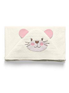 Toalha de Banho com Capuz Rosa Mundo de Fantasia Hug Baby