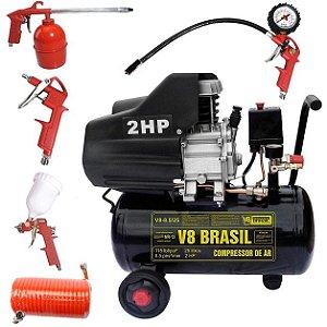 Compressor Ar 2hp 25 Litros 110v V8 85982 + Kit Pintura 423