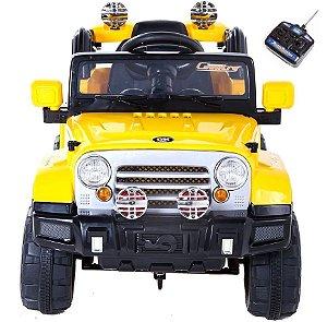 Mini Jipe 2x1 Elétrico Veículo Trilha Amarelo Bel Fix 927600
