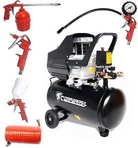 Compressor Ar 2HP 25L 220v 80-25l + Kit Pintura 5 Peças 423