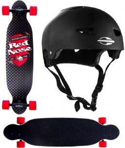 Skate Longboard Abec 7 Shape Mess Red Nose 444400 + Capacete G. Mormaii 507900