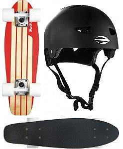 Skate Cruiser Mini Long Surf Bambu Red Nose 444200 + Capacete G. Mormaii 507900