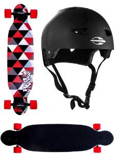 Skate Longboard Abec 7 Shape Shield Red Nose 444100 + Capacete G. Mormaii 507900