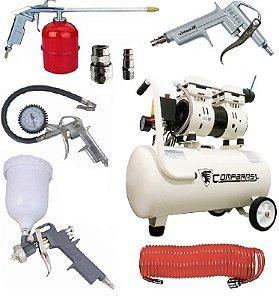 Compressor Ar Isento Óleo 220v 750-30l + Kit Pintura MTX 573049 + Engate 570169