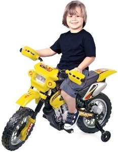 Mini Moto Cross Elétrica 6V Infantil Triciclo Som Luz Amarelo Bel Fix 925900