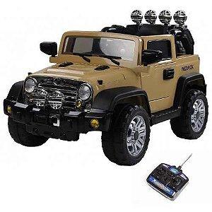 Mini Veículo Jipe 2x1 Rali Controle Remoto 12v Caqui Som Luzes Bel Fix 927300