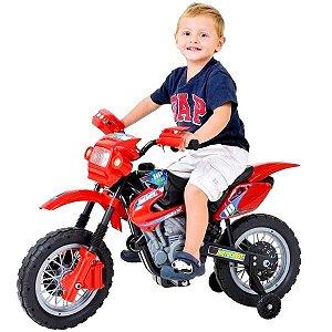 Mini Moto Cross Elétrica 6V Infantil Triciclo Som Luz Vermelho Bel Fix 925800