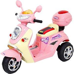 Mini Moto Lambreta Elétrica Rosa Luz Som 6v Bel Brink 912800